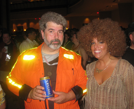 Fake George and me as Foxxy Cleopatra. And he likes Foster's!