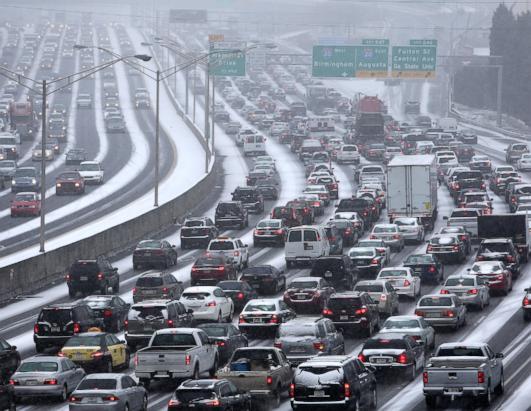atlanta traffic in snow