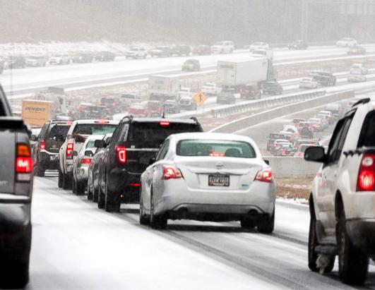 snowstorm traffic jam