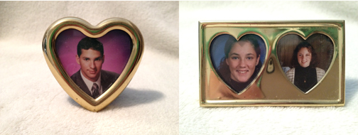 Heart=shaped brass frames with my siblings heads inside? Really?