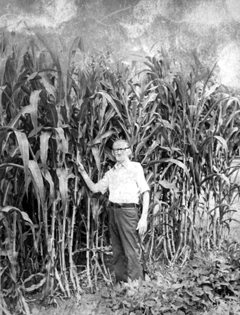 Grandpa and his wicked tall corn.