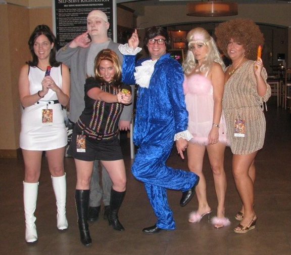 The gang as Austin Powers. From left to right: Ms. Kensington, Dr. Evil, Felicity Shagwell, Austin Powers, Fembot, Foxxy Cleopatra