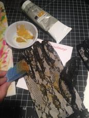 Sponge painting my gloves.