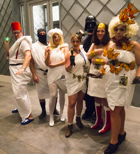 From left to right: Doctor Who, A Ninja (but you probably can't see him), Elle Driver from Kill Bill, A Steampunk Lass, Darth Vader, Wonder Woman, and Effie Trinket from the Hunger Games.