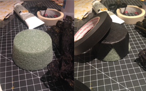Styrofoam from Dollar Tree and black artist tape.