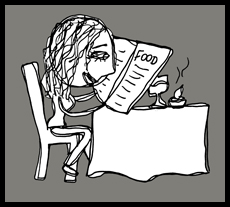 Reading the menu.