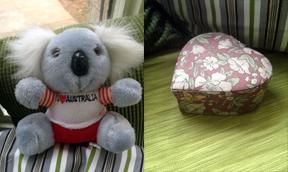 Nate sent me a jewelry box and a stuffed koala bear.