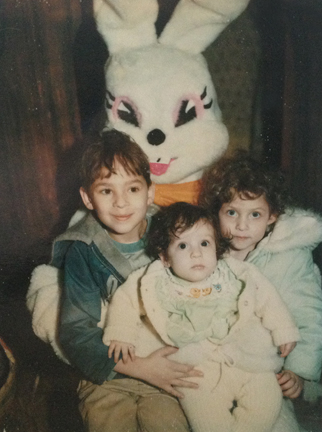 Easter circa '80 or '81 I'm the one in the middle. Yes, the bunny is totally creepy.