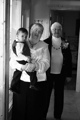 My mom and grandmother and one of my nephews ready for the big event.
